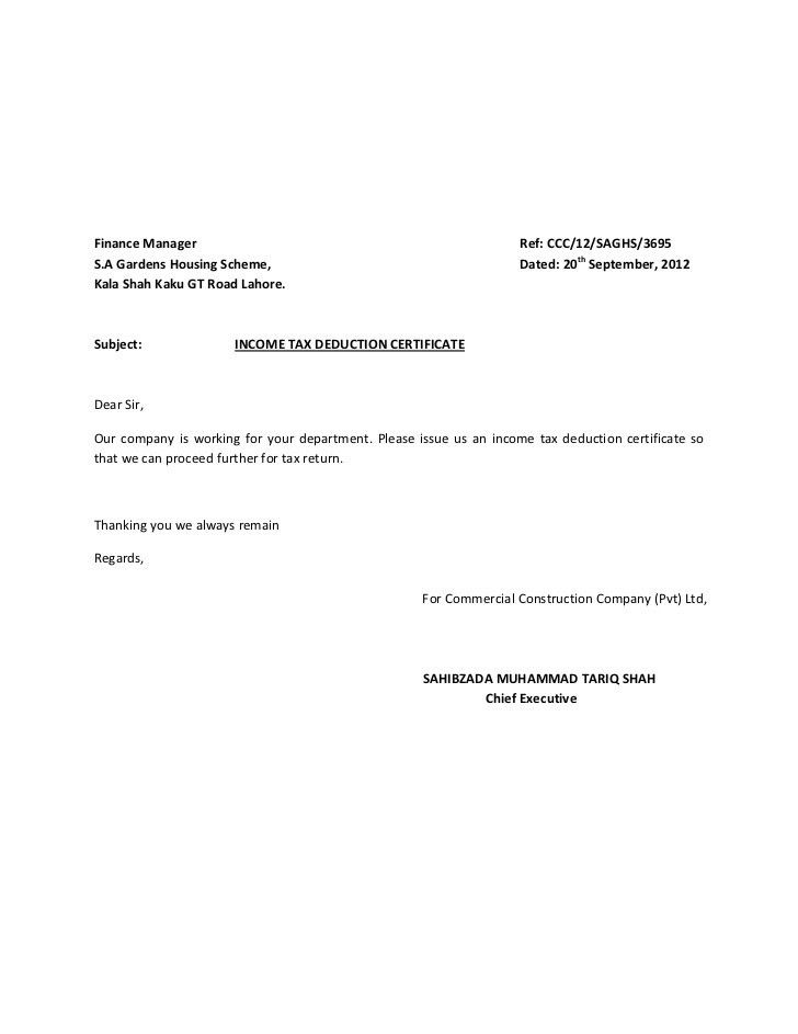 Income Tax Deduction Certificate For Tax Returns  Format Of Salary Certificate Letter