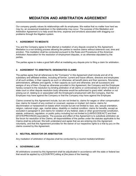 Mediation Agreement Template  EnvResumeCloud