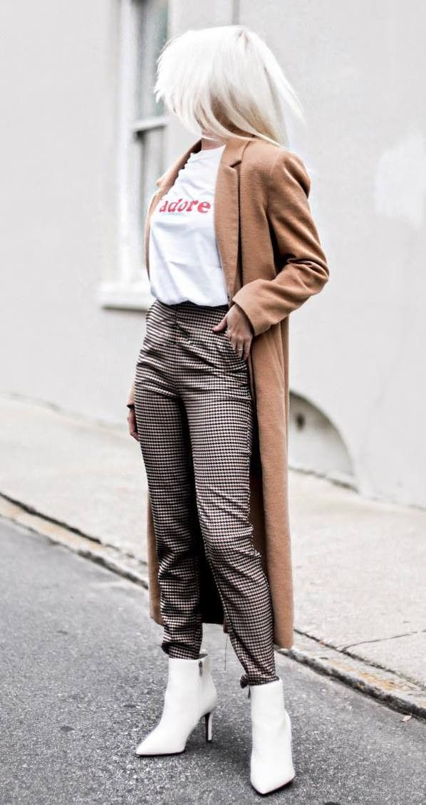 fall outfit idea : brown coat printed tee plaid pants boots