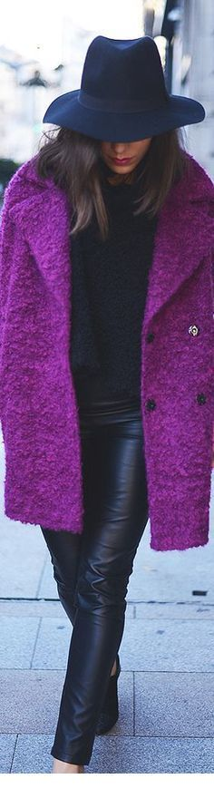 Purple coat and navy hat