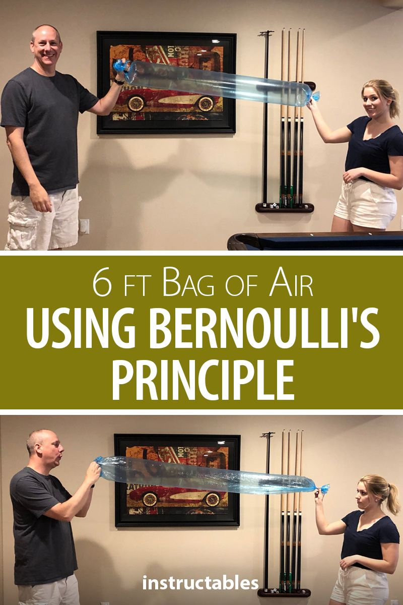 Challenge your friends to fill up a 6ft bag with air in one breath. The trick? Bernoulli's Principle. #Instructables #experiment #student #education #trick #game