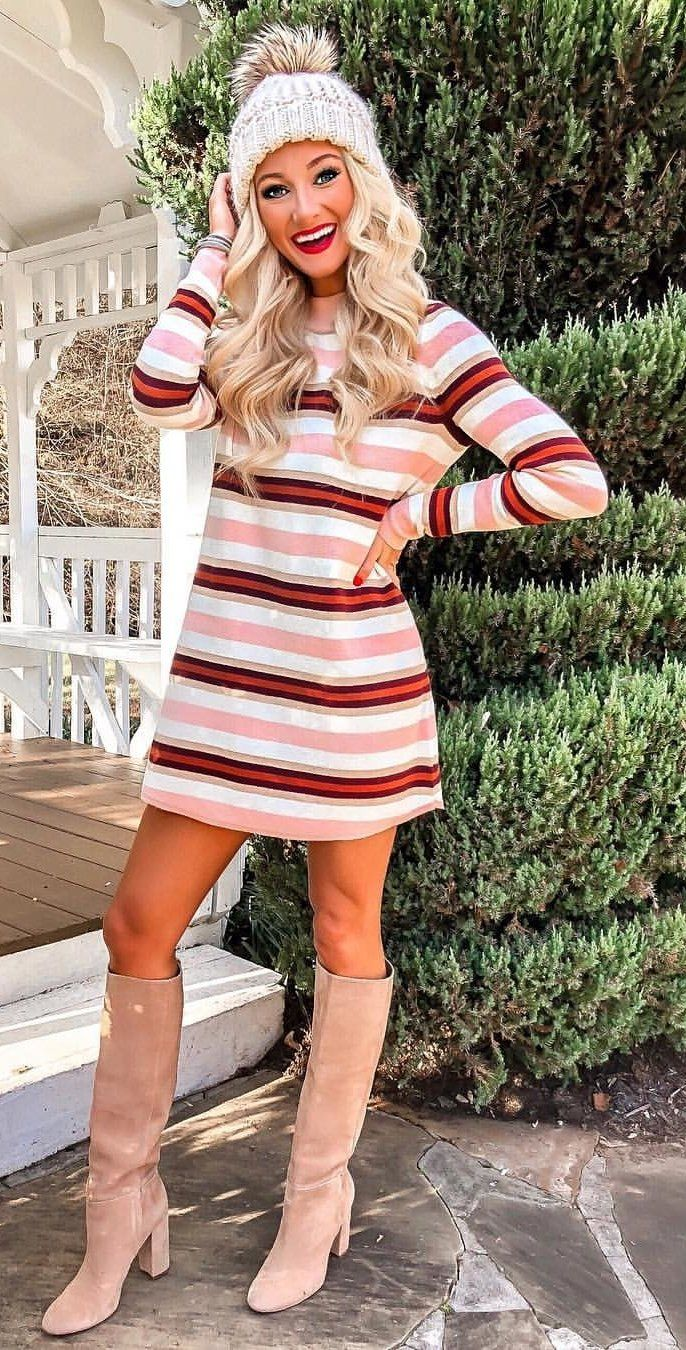 pink. white, and red striped long-sleeved dress