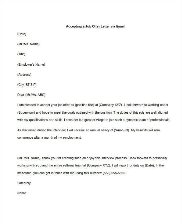 Job fer Email Sample] Sample Thank You Email The Job fer Susan