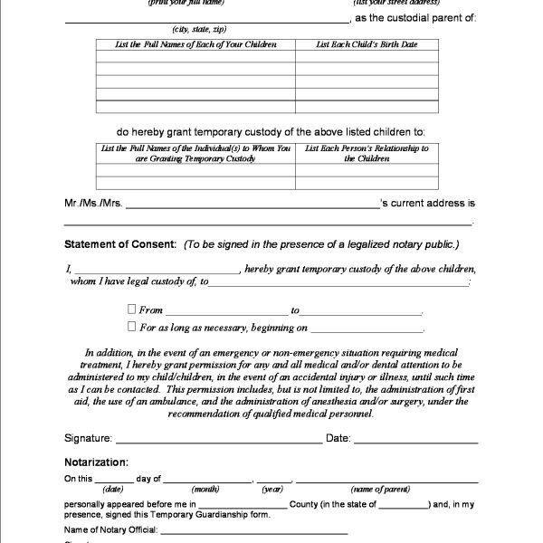 temporary custody form cvresumeunicloudpl - temporary guardianship form
