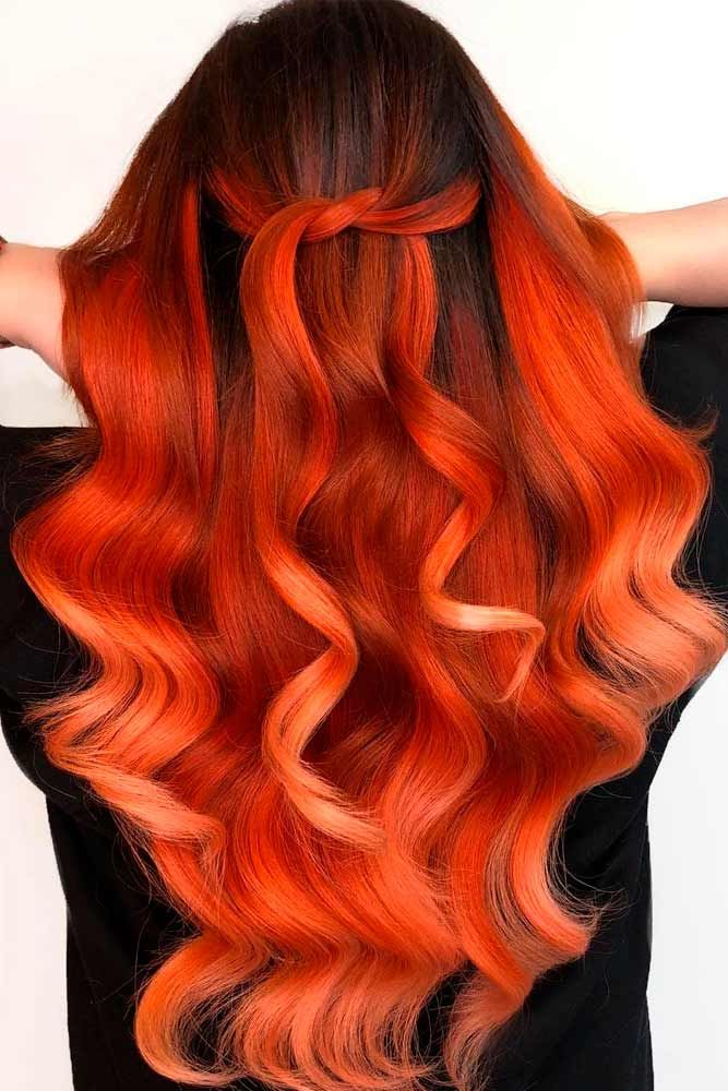 Totally Tangerine #ombrehair #wavyhairstyles ★ Light and dark brown hair with highlights and lowlights looks spectacular. Discover trendy color ideas for short and long hairstyles. #glaminati #lifestyle #brownhairwithhighlights