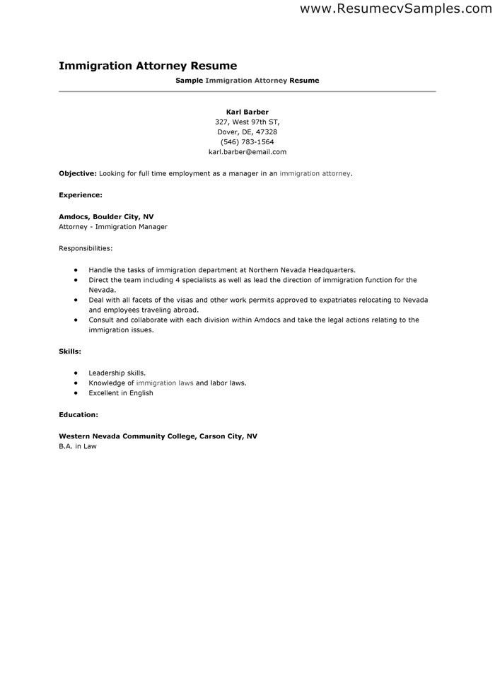 Immigration Attorney Cover Letter Immigration Legal Assistant Cover - immigration officer sample resume