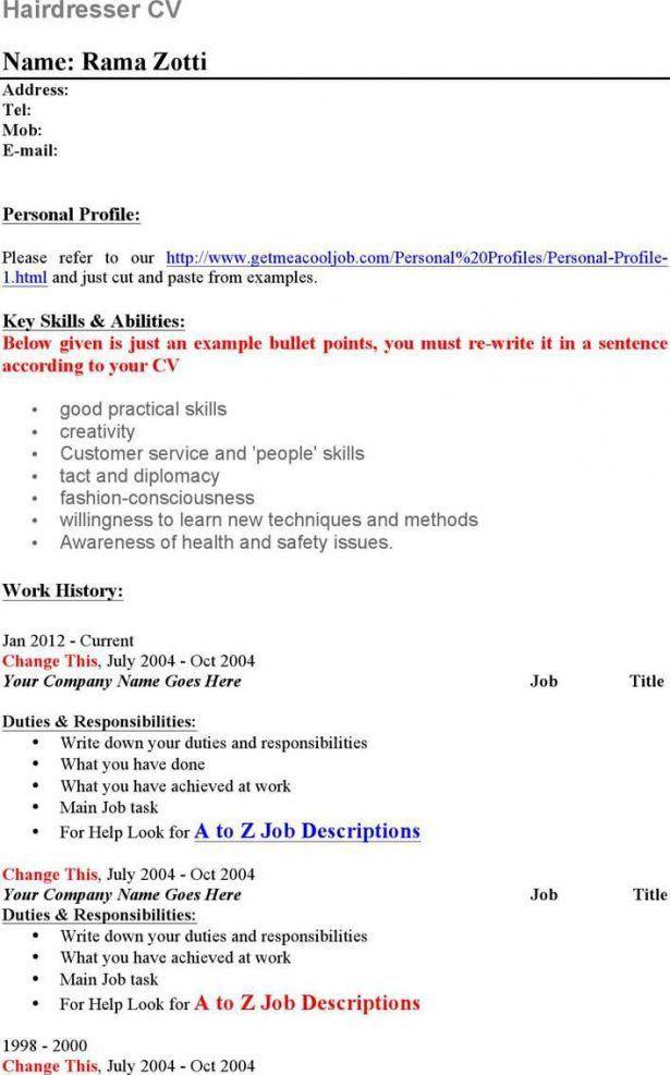 Hair Stylist Job Description Professional Hair Stylist Templates - hairdresser resume examples