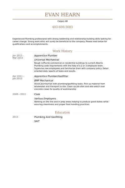 plumber resume templates