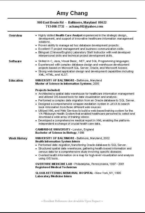 sample sql server dba resume