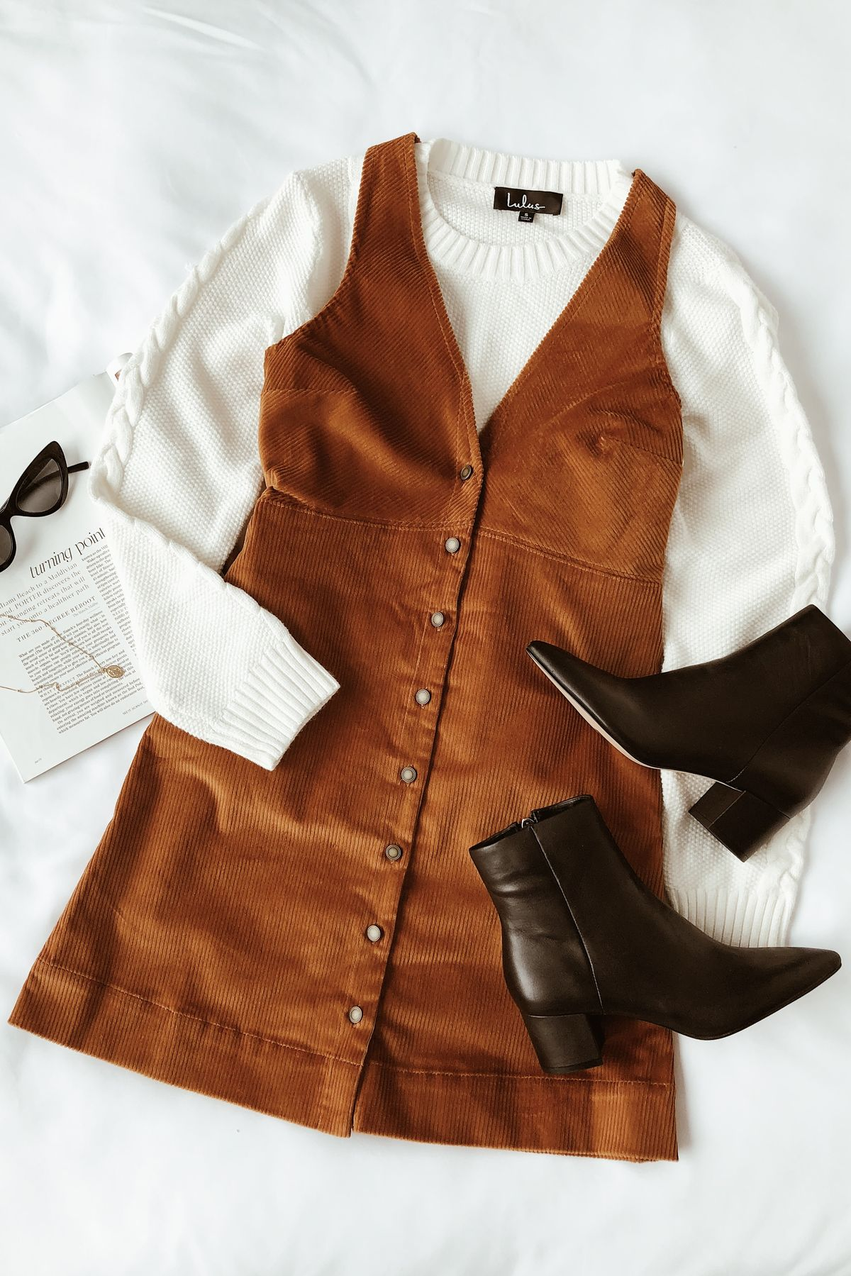 Brown corduroy dungaree dress with ankle boots and cream jumper #lovelulus