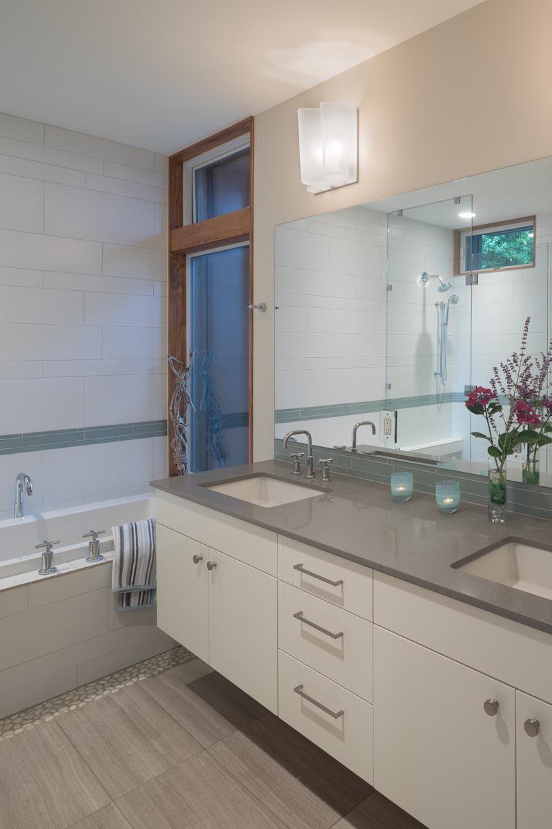 A Grey And White Modern Bathroom