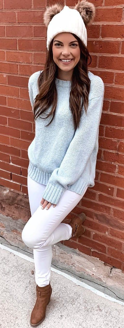 gray sweater #winter #outfits