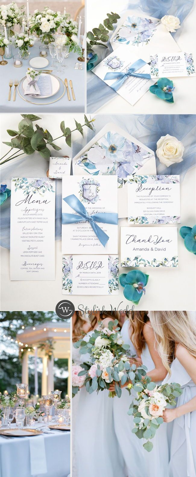 french blue and periwinkle watercolor #wedding #weddinginvitations#stylishwedd #stylishweddinvitations