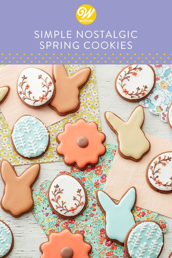 Enjoy the simple pleasures with these Simply Nostalgic Spring Cookies. Made using our tasty chocolate cookie dough, then decorated with royal icing, these cookies are simple to make, yet make a lovely display when arranged on a spring platter. Since these cookies are decorated with royal icing, they will need plenty of time to dry, so be sure to make these cookies a few days in advance for best results. #wiltoncakes #cookies #cookie #cookiedecorating #royalicing #homemade #baking #easter #spring
