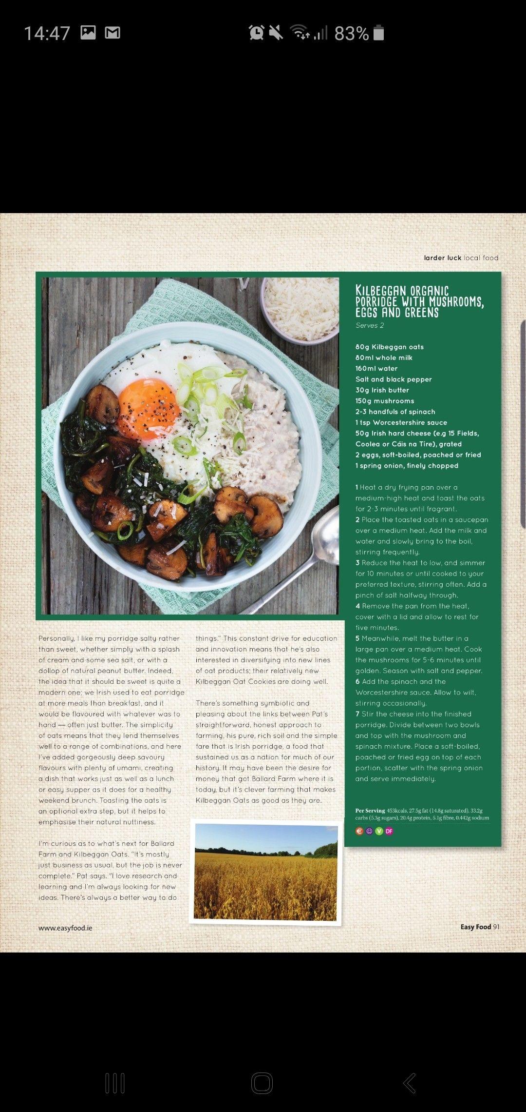 Organic Porridge With Mushrooms Eggs And Greens Vegetarian Recipes Stuffed Mushrooms Recipes