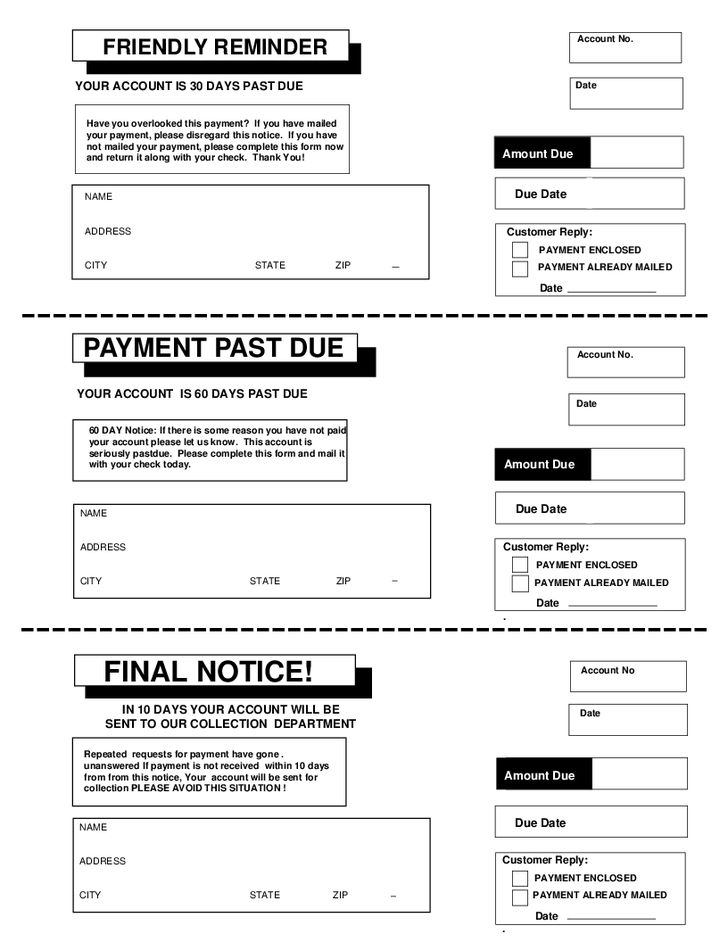 Payment Due Template Notice Of Payment 60 Days Past Due Template - final notice template