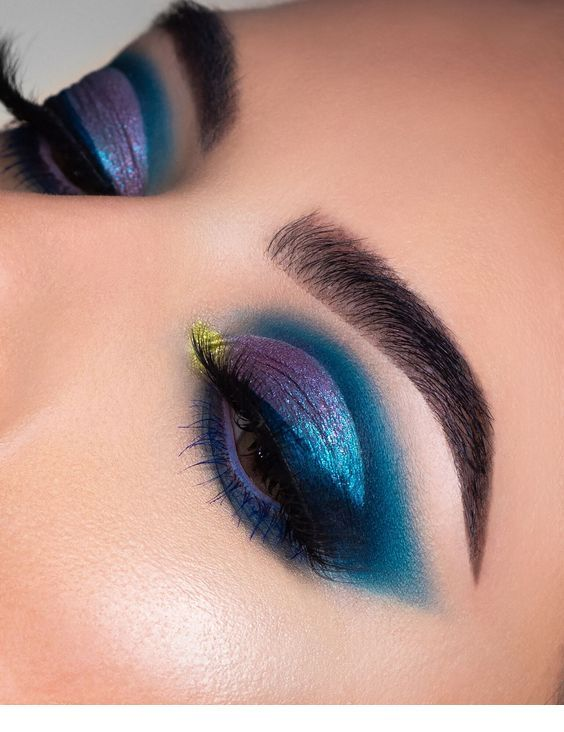 Glam purple and blue eye makeup