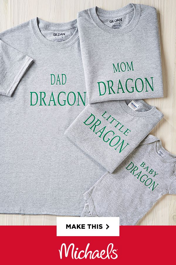 Dragon Family T-Shirts - Looking for a great last minute Halloween idea? Dressing up as a family of dragons can be so fun and this easy DIY can be worn at any age.