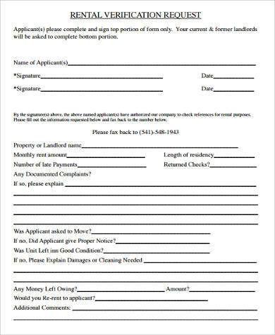 Rent Verification Letter Sample Verification Of Tenant Occupancy - landlord verification form