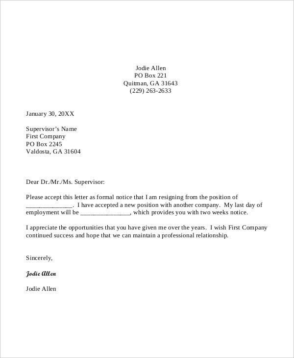 Templates Of Resignation Letter Sample Teacher Resignation Letter - formal letter of resignation