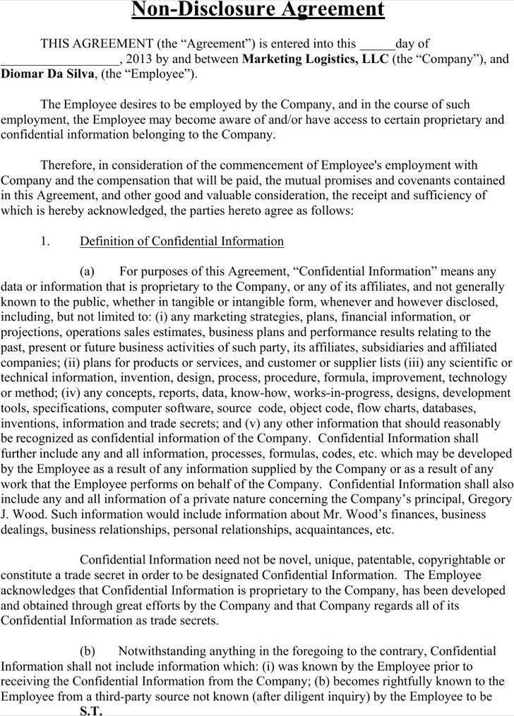 20 word non disclosure agreement templates free download free - sample employee confidentiality agreement