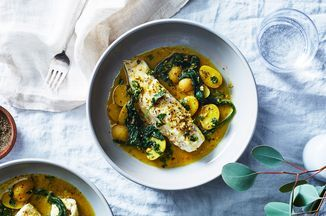 Martha Rose Shulman's Quick-Braised Fish With Baby Potatoes & Greens