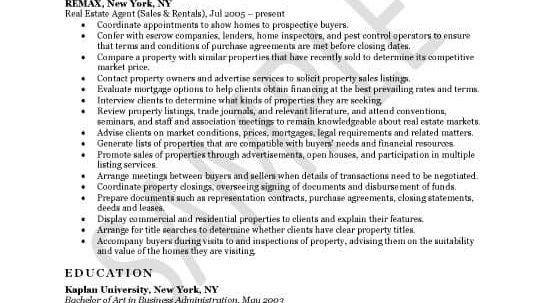 realtor job description for resume