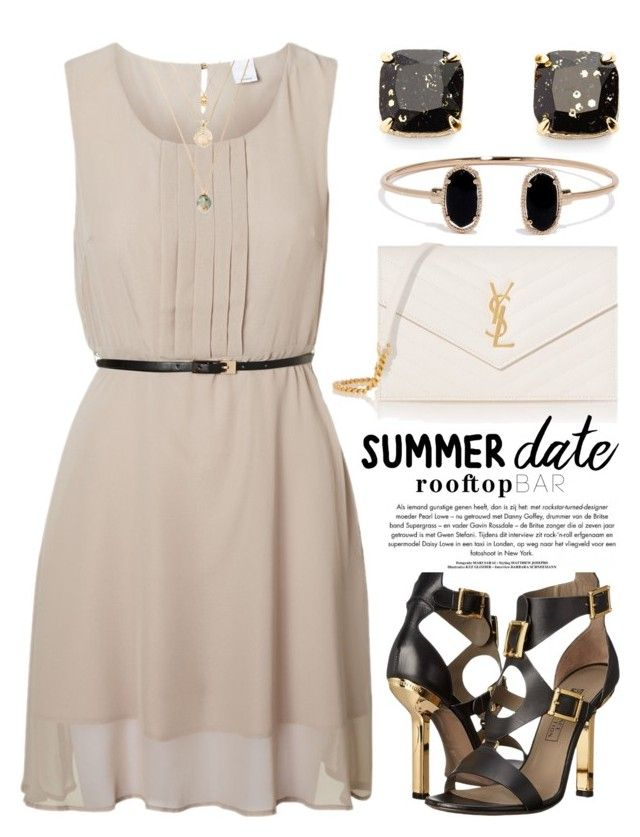 Summer Date: Rooftop Bar 1601 by boxthoughts on Polyvore featuring polyvore, fashion, style, Vero Moda, Versace, Yves Saint Laurent, Kate Spade, LULUS, Farrow & Ball, clothing, summerdate and rooftopbar