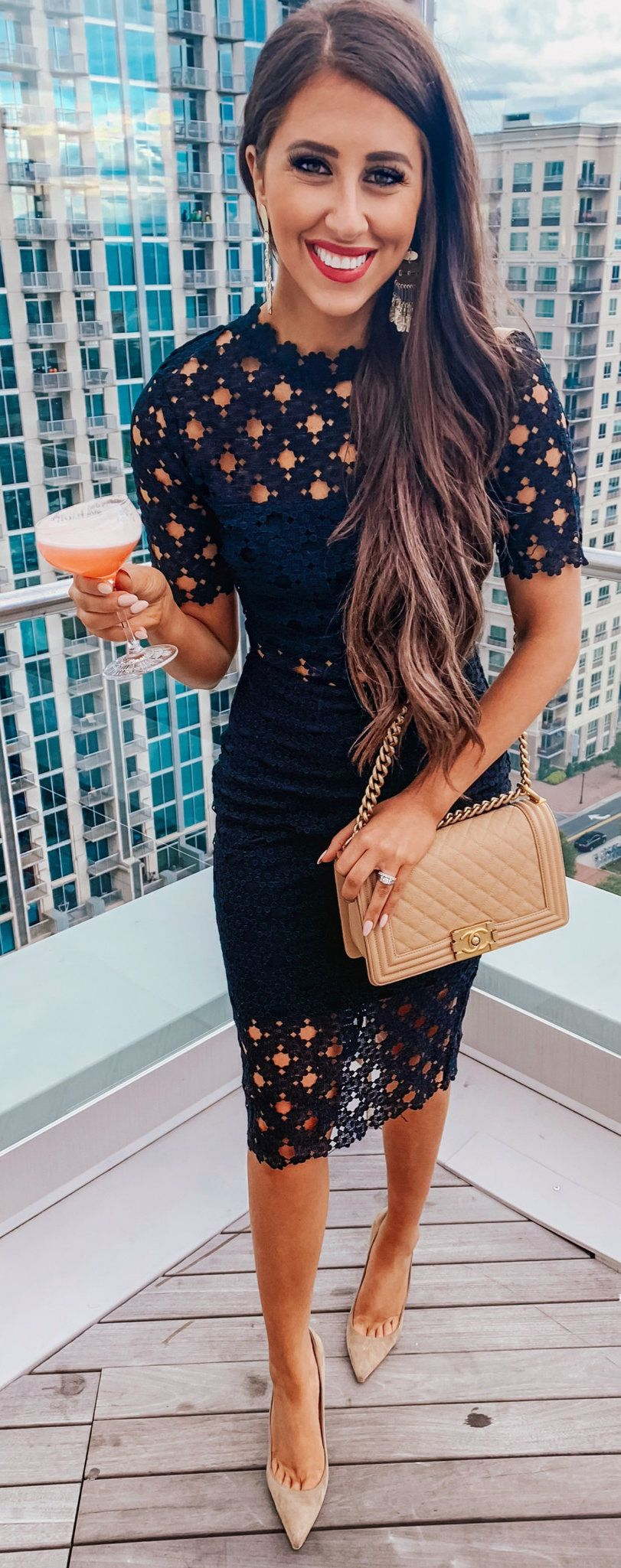 black cut-out 2-piece dress