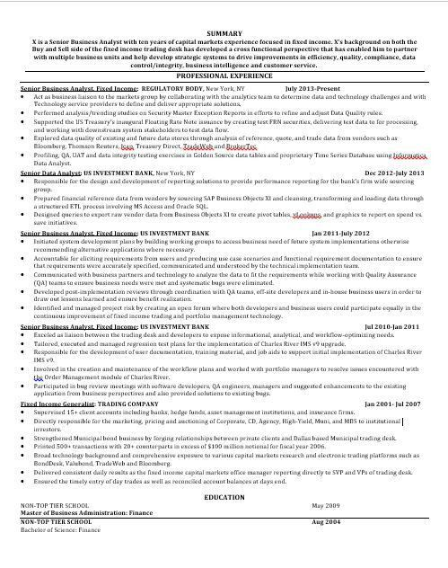hedge fund resume sample