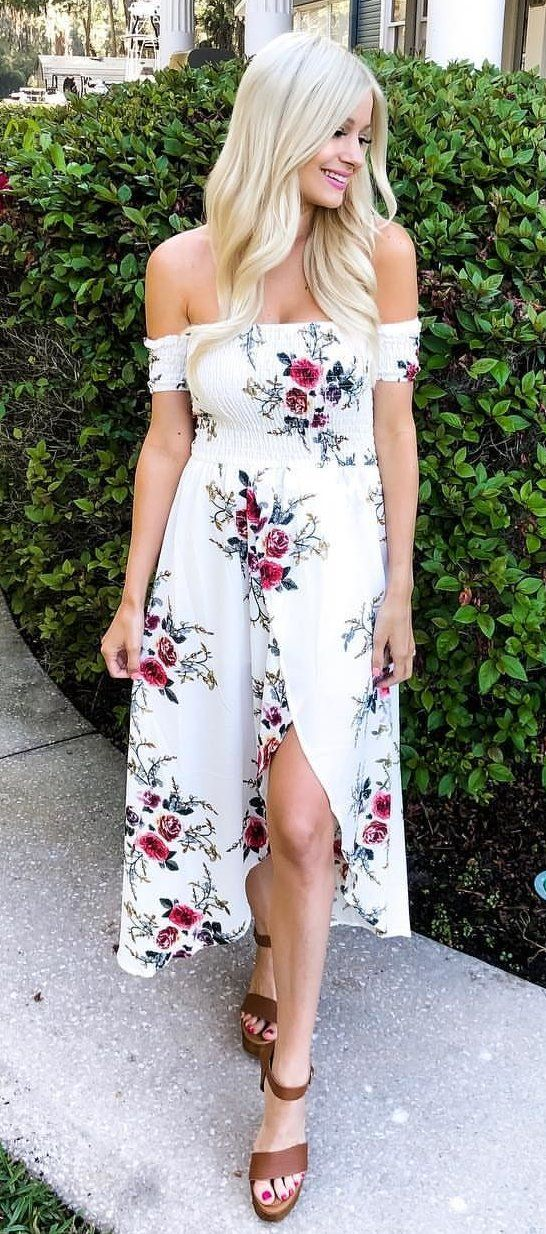 white and red floral off-shoulder dress #spring #outfits