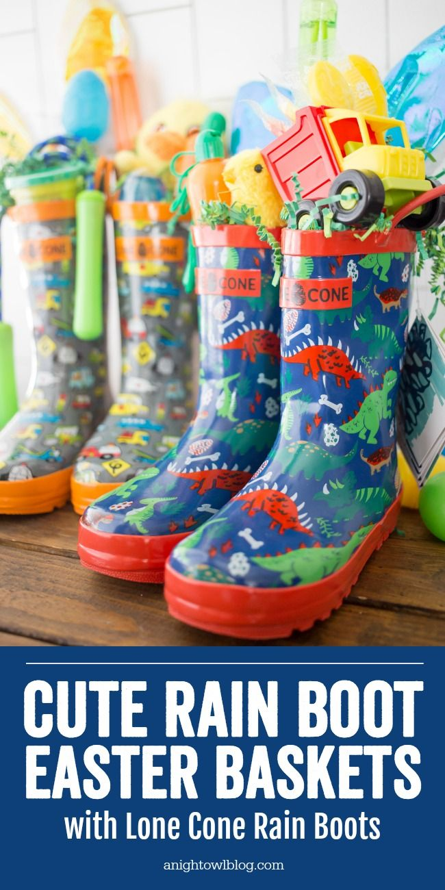 Such a unique and fun Easter basket idea, this year create Rain Boot Easter Baskets for your kids with Lone Cone Rain Boots! #Easter #EasterBaskets