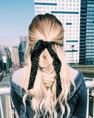 Half-Up Fishtail Braid With a Ribbon