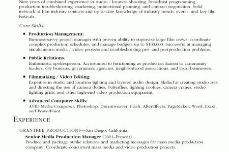 Television Production Engineer Resume Production Engineer Resume - production assistant resume