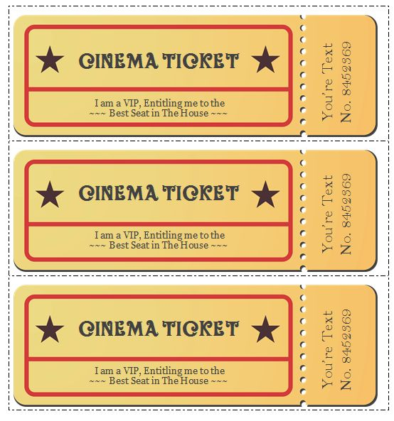 Free Ticket Template For Word Event Ticket Template Templates For - create your own movie ticket