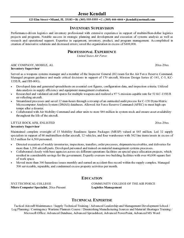 Resume Objective Supervisor Examples