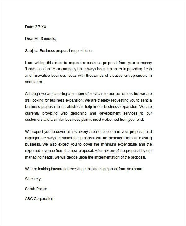 Template For Business Proposal Letter 32 Sample Business Proposal - sample business letter example