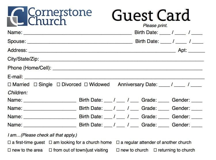 Amazing Guest Card Template Free Church Guest Card Template Churchmag Church Survey  Template
