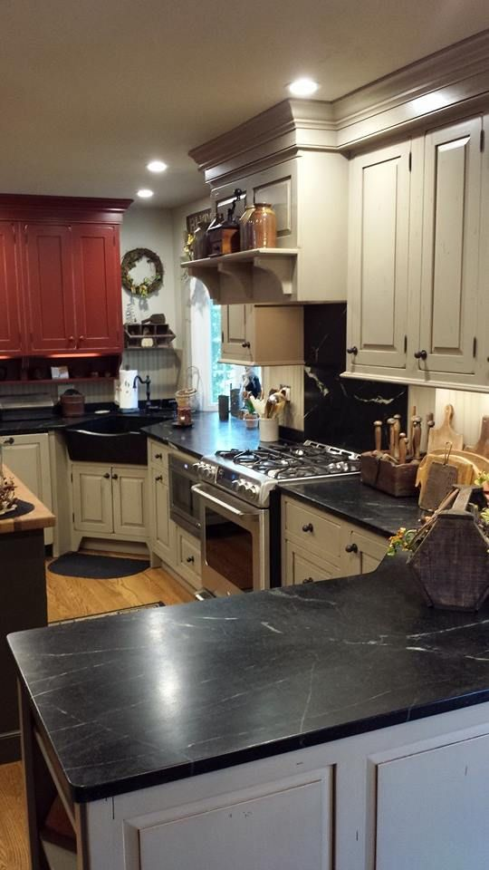Country Kitchen Soapstone Sink And Countertops Country Red