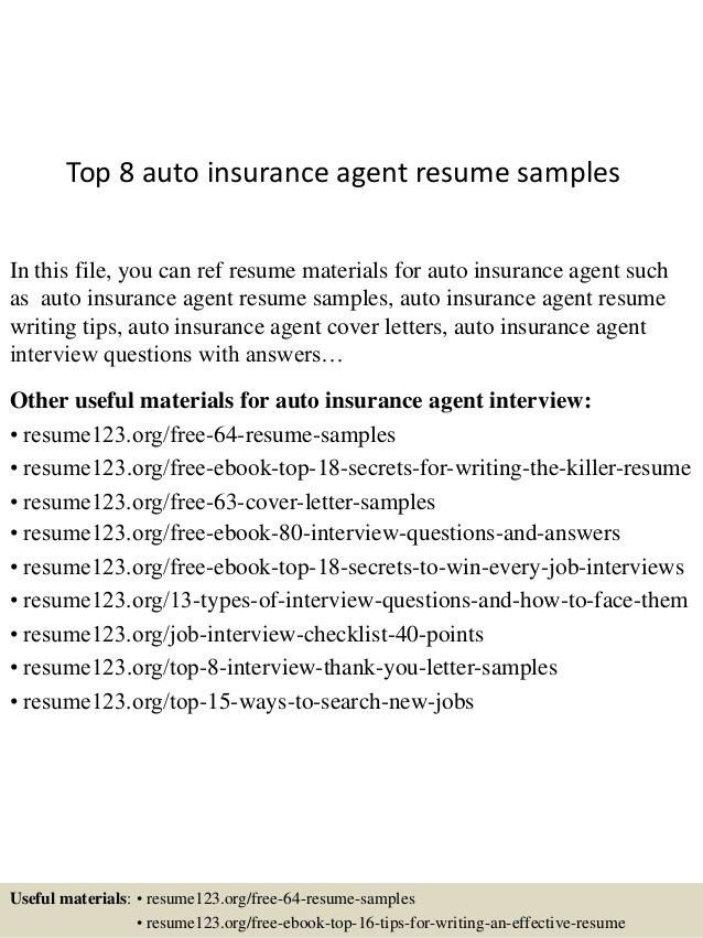 Sample Resume For Insurance Agent Agent Resume Example Sample Of