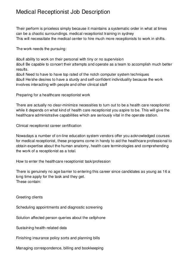 Receptionist Job Description Resume Unforgettable Receptionist - resume for receptionist position
