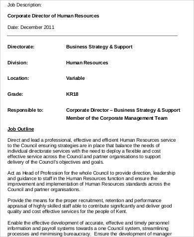 Sample Resume For Human Resources Manager Resume Sample For Hr - hr director job description