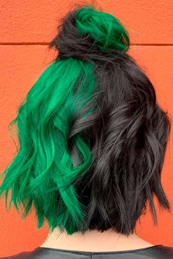 Two-Toned Parted Hair #colorfulhair #twotonedhair ★ Looking for the latest green hair ideas? In our guide, we've put together the best options to match any taste, from light pastel mint balayage on a short bob to dark and bright emerald ombre on long locks. #glaminati #lifestyle #greenhair