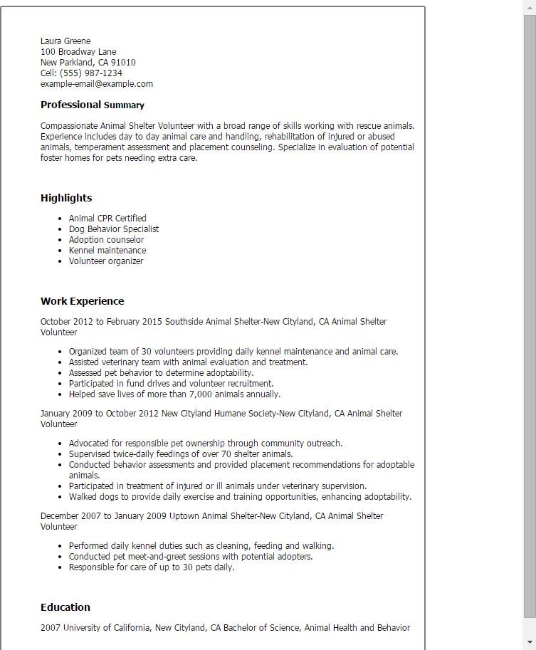 Animal Rescue Cover Letter Ohye Mcpgroup Co