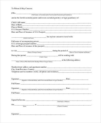 Child Permission To Travel Letter Child Travel Consent Form - travel consent form sample