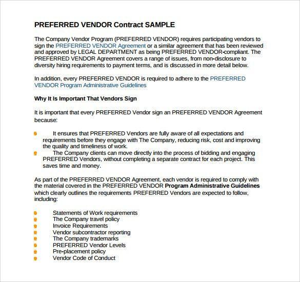 Vendor Contract Agreement Template 10 Vendor Agreement Templates - vendor confidentiality agreement