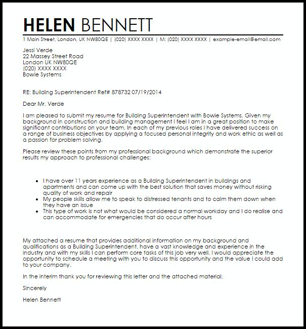 cover letters for construction superintendents - Barut