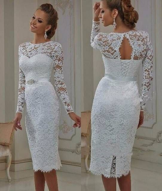 Online Shop Vintage Lace Tea Length Short Wedding Dresses 2019 With Long Sleeves Sheath Jewel Neck Casual Reception Bridal Gowns New Real | Aliexpress Mobile