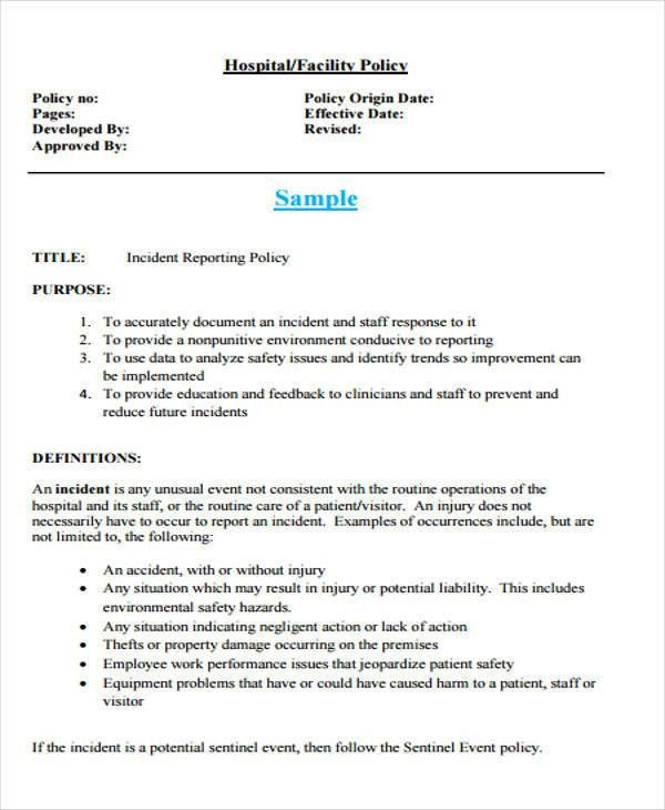 Medical Incident Report Sample 10 Incident Report Templates Free - safety report sample