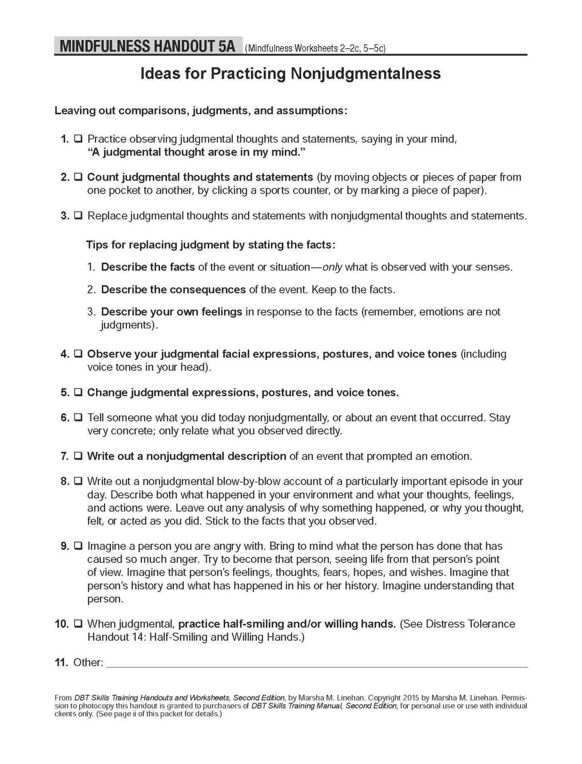 Mindfulness Worksheet
